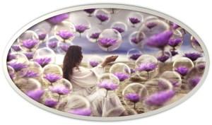 woman purple flowers bubbles