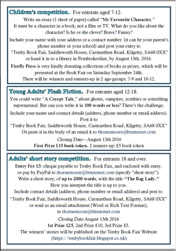 tenby book fair story competitions judith barrow method of payment for the adult story pay by the paypal button on the tenby book fair competition page bit ly 28nxmqg
