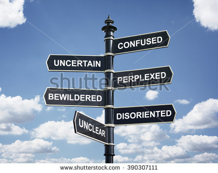 stock-photo-crossroad-signpost-saying-confused-uncertain-perplexed-bewildered-disoriented-unclear-concept-390307111
